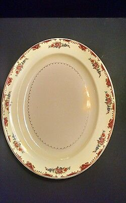 "Vintage PADEN CITY USA 15.75"" Oval Serving Platter with Floral Spray, 1940s"