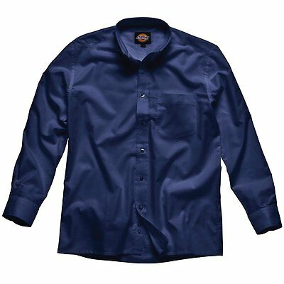"Dickies SH64200 NV 17 Size 43 ""Oxford"" Long Sleeved Shirt - Navy Blue"