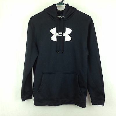 Under Armour Youth Sz Large Black with White Logo Pullover Hoodie Sweatshirt