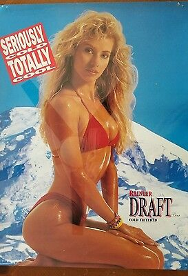 Vintage Rainier DRAFT Beer Ad Rainier Bikini SERIOUSLY COLD TOTALLY COOL 15x20