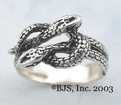 Sterling Silver Snake Ring, Celtic Knot Ring of Snakes, Snake Jewelry, Your Size