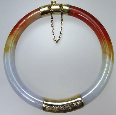 Beautiful Vintage Chinese 14K Gold Red Yellow White Jade Bangle Estate Bracelet