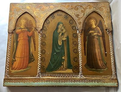 ANTIQUE FLORENTINE GILT TRIPTYCH/PORTRAIT VIRGIN MARY w/INFANT JESUS & 2 ANGELS