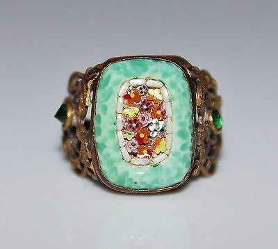 Art Deco Mottled Green Glass Floral Micro Mosaic Brass Filigree Ring, Size 5.75