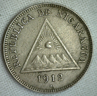 1912 Nicaragua 5 Centavos Extra Fine Five Cents XF Coin KM# 12