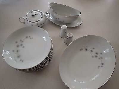 Creative Japan 1014 Fine China Platinum Starburst Dinnerware 15pc