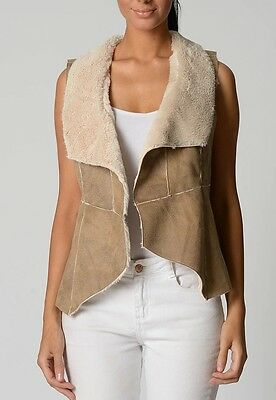 Beautiful Suede Like Vest- Cream & Brown Excellent Quality Size 18 (Free Post)