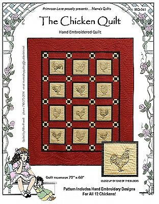 THE CHICKEN QUILT HAND EMBROIDERED QUILT PATTERN, by Primrose Lane, *NEW*