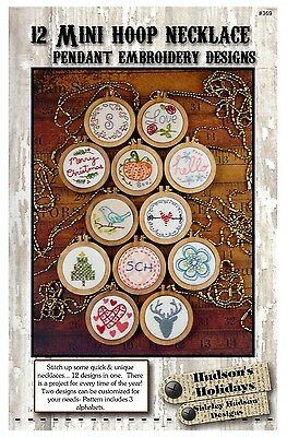 12 MINI HOOP NECKLACE EMBROIDERY DESIGNS, from Hudson's Holiday Designs, *NEW*