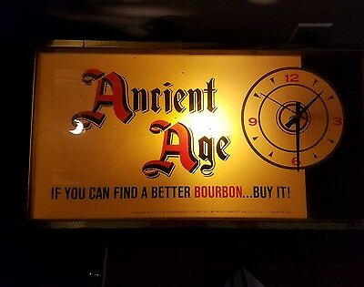VINTAGE 1950's 1960's ANCIENT AGE  KENTUCKY BOURBON WHISKY CLOCK Sign RARE