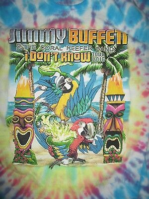 2016 JIMMY BUFFETT & Coral Reefer Band I DON'T KNOW (LG) Tie-Dye Shirt
