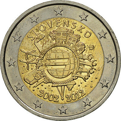 [#461199] Slowakei, 2 Euro, 10 years euro, 2012, UNZ, Bi-Metallic