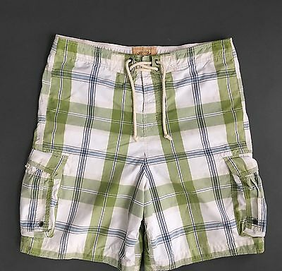 744b55472f HOLLISTER Plaid cargo shorts swim trunks mens Size Medium XL GREEN WHITE