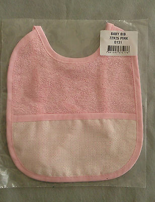 Baby Bib, Towelling with 14ct Aida pocket. Blue,pink,white 100% cotton 22 x 25cm