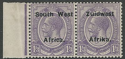 1924 South West Africa Sc #36 - 1s 3d Bilingual Pair Setting VI MH; SCV $17.50