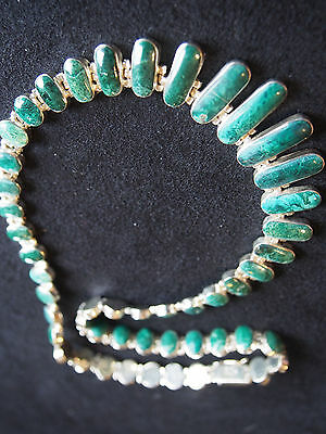 Vtg Southwestern Or Mexico Sterling Graduated Malachite Link Artisan Necklace