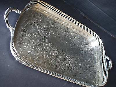 Antique Gallery Footed Handled Pierced Etched Tray~Marked SF S Francisco Hotel ?