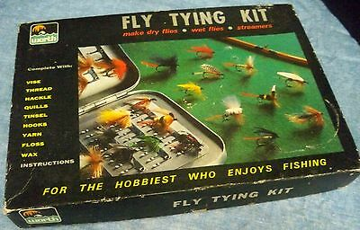 Vintage Worth Fly Tying Kit Fishing Lures Used Plenty of Materials Left Orig Box