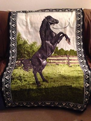 "Tapestry Fabric  Wall Hanging Of Black Horse - 58"" X 39"""