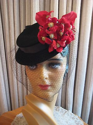 Charming 40's Black Felt Tilt Hat W/ Red Velvet Flowers And Veil
