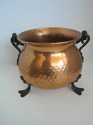 VTG GEKRO GERMANY Hammered Copper Pot Cauldron 3-Footed Twisted Iron Handle