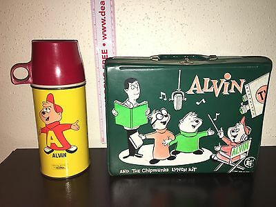 Vintage 1963 ALVIN & THE CHIPMUNKS Vinyl LUNCH BOX KIT & THERMOS Hard to Find