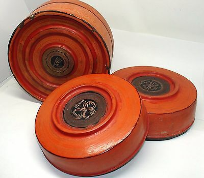 Antique Burmese Lacquer Box Betel Bamboo Shan States Flowers 2 Nesting Trays