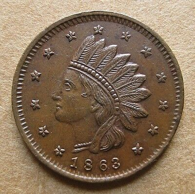 Patriotic Civil War Token 69/369a R-3 Very Nice UNC - 1863 Indian / Not One Cent