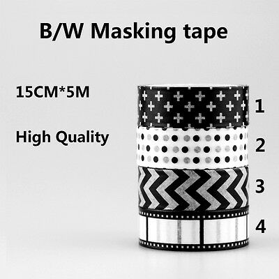 Washi Tape Black White Negative Film Cross Dots Chevron Masking Tape 1.5cm * 5m