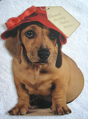 """Vintage Large 11"""" High Daschund Mother's Day Card Unsigned"""