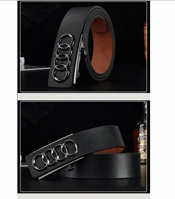 Belt Mens Black Genuine Leather Audi Cowskin Men's Belts Car Logo AutoBuckle New