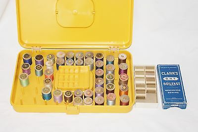 Lot of 49 Wood Thread Spools in Carrying Case - Coats - Clarks - Carson - etc
