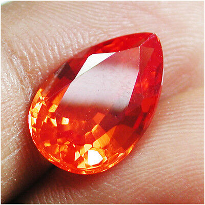 Nice!4.45ct Stunning Lab Created Padparadscha Orange Sapphire Pear Shape Cut Gem