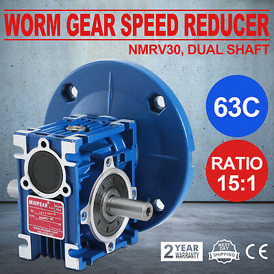 Worm Gear 15:1 63C Speed Reducer Gearbox Dual Output Shaft Durable Active 0.38HP