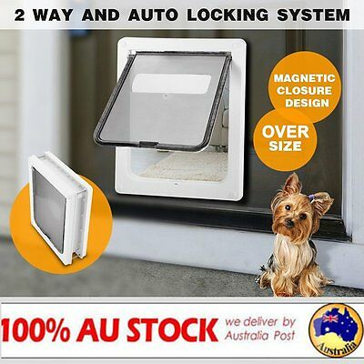 Pet Door Dog Extra Large Flap 36x43cm 2 Way White Gate Lockable Entrance XL AUS