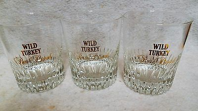 Wild Turkey Rare Breed Set of 3 Glasses Metallic Gold Lettering