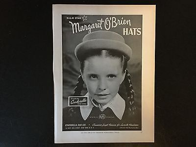 1946 Original Vintage Print Ad, Margaret O'Brien Hats, Cinderella Hat Co.