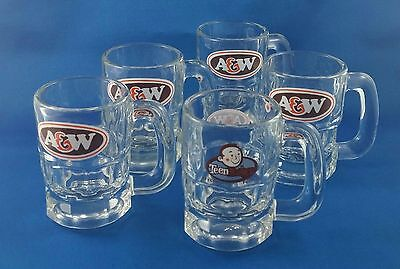 Vintage A&W Mini Root Beer Mug - lot of 5 - A&W Logo & Teen Burger Special Ed