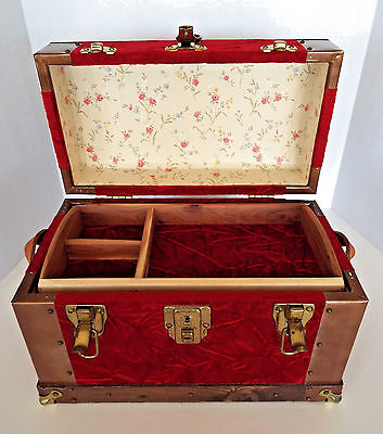 Antique Dome Doll Trunk Removable Tray Treasure Chest Jewelry Box George Brown