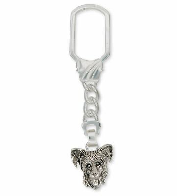 Chinese Crested Key Ring Jewelry Sterling Silver Handmade Dog Key Ring CC3-KRE
