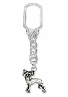 Chinese Crested Key Ring Jewelry Sterling Silver Handmade Dog Key Ring CC2-KR