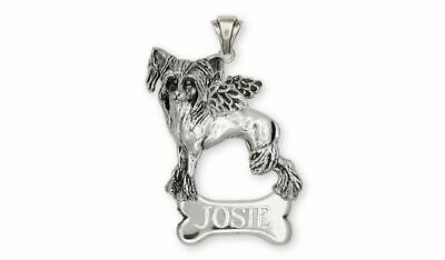 Chinese Crested Angel Pendant Jewelry Sterling Silver Handmade Dog Pendant CC2-A