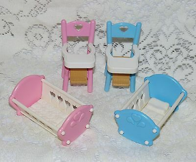 Fp Fisher Price Loving Family Dream Dollhouse Twin Rocking Cradles & Highchairs