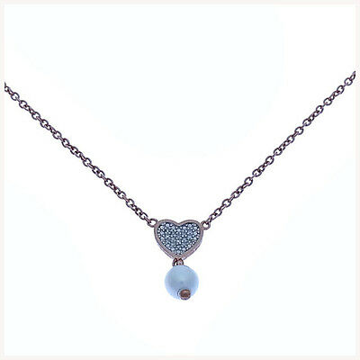 Auth Folli Folly Necklace Heart Pearl Ladies used J7632