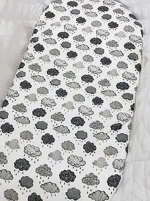 Grey Clouds on White Bassinet Fitted Sheet