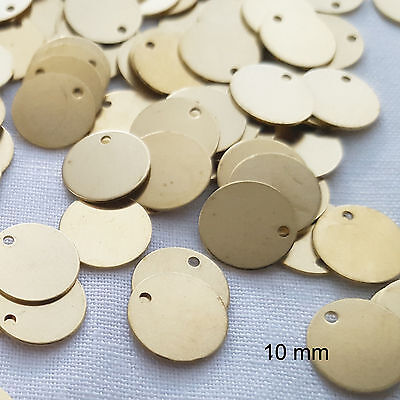 20 x Brass Blank Stamping Disc Tags Pendants Flat Round Unplated Tag 10 x 0.5 mm