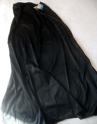 Nwt Vintage 1970S Target Black Nylon Full Length Half Slip Side Split Size 14