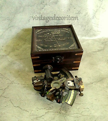 "Nautical Maritime Brass sextant 4"" with wooden box Vintage Collectible"
