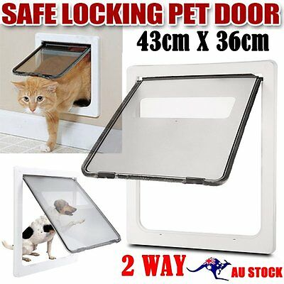 Safe 2 Way Lockable Locking Dog Cat Puppy Pet Flap Screen Door Brushy Frame AUSy