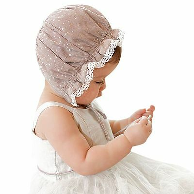 Newborn Toddler Baby Girls Stretchy Lace Hat Bonnet Cap 2-8 Months Flower Cap AU